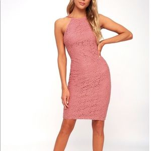 LULU'S Lover's Way Rusty Rose Lace BodyCon Dress